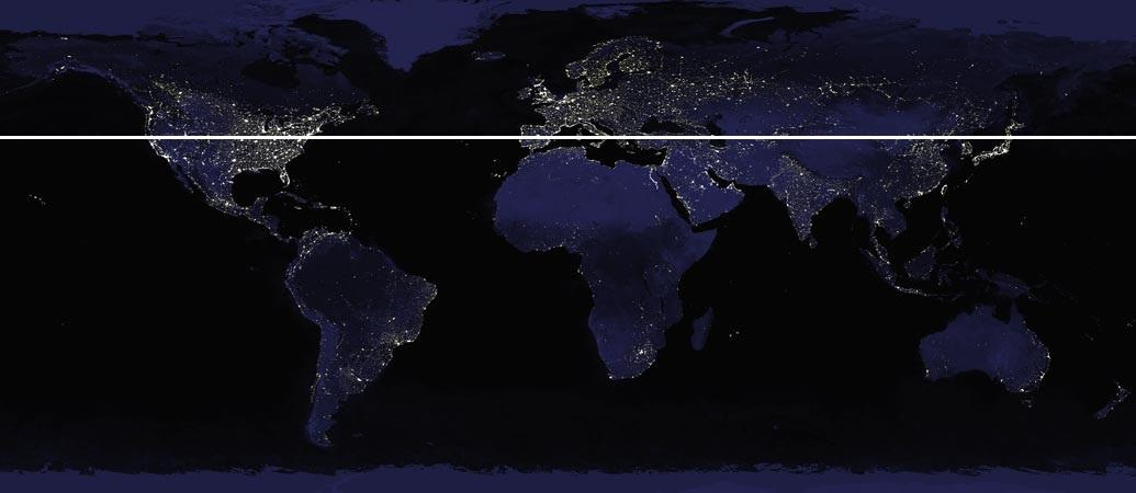 nasa light map - 40 deg lattitude